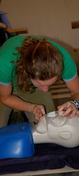 A student working on first aid in Teaching I, one of Meredith Manor's many equine courses.